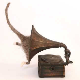 mouse wool sculpture in a gramophone