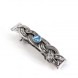 Sterling Silver Woven Hair Barrette with Swiss Blue Topaz