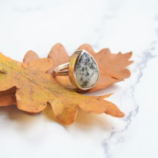 Sterling silver dendrite statement ring by Thistledown Wishes