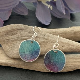 turquoise, purple and pink earrings