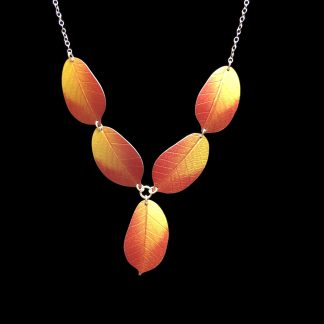 Golden Cherry leaf necklace by Photofinish Jewellery