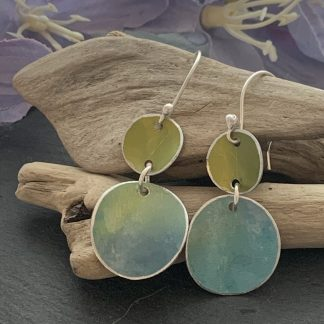 Apple green and blue earrings