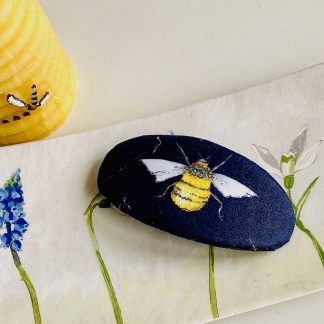 Bee fabric hair barrette