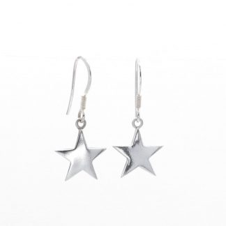 fine silver star drop earrings