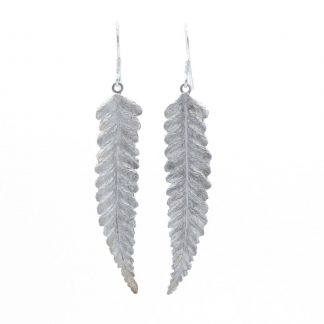 Fern fine silver drop earrings