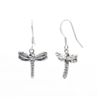 fine silver dragonfly drop earrings