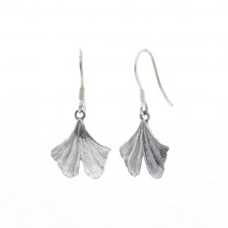 silver small gingko drop earrings