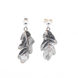 fine silver oak leaf earrings