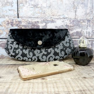Black and silver mini clutch