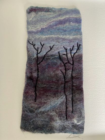 Close up detail of Winter Landscape Felt textile Painting