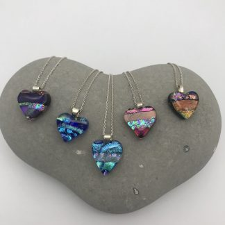 Heart shaped dichroic glass necklaces
