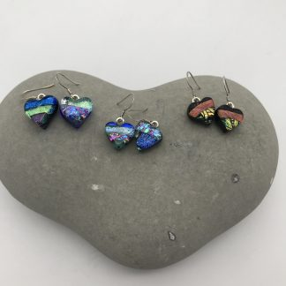 heart shaped dangly dichroic glass earrings