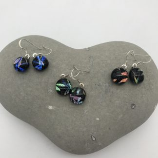 Dragonfly dichroic glass dangly earrings