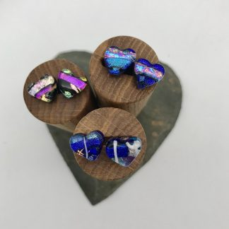 Heart shaped dichroic glass stud earrings