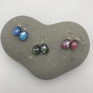 Silver swirl pattern dichroic glass dangly earrings