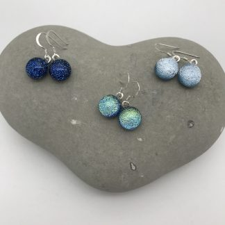 Colourful dichroic glass dangly earrings