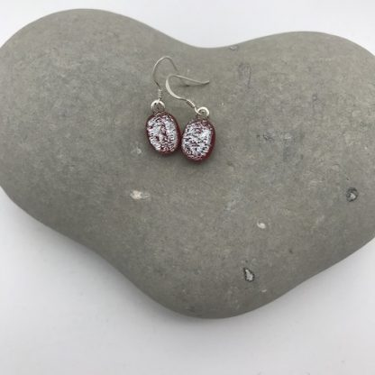 red / silver dichroic glass dangly earrings
