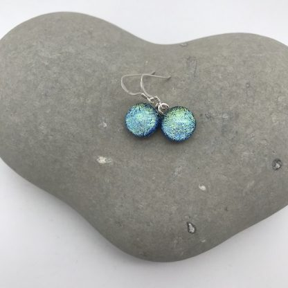 Blue / gold dichroic glass dangly earrings