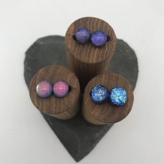 Colourful dichroic glass stud earrings