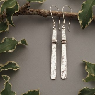 Long 6.5cm hammered sterling silver bar dangle drop earrings with a wire wrapped section