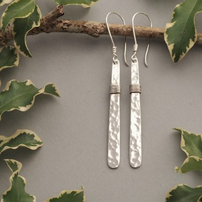 6.5cm long hammered sterling silver bar dangle earrings with a wire wrapped section - Handmade jewellery for women