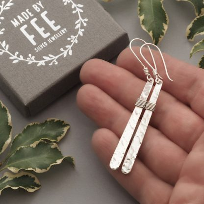 6.5cm long hammered sterling silver bar dangle earrings with a lightly oxidised wire wrapped section - Handmade jewellery for women