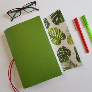 Monstera Journal Bound in Bright Green Leather, A5, Mallory Journals