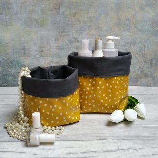 Gloss oilcloth mustard yellow and grey storage pots