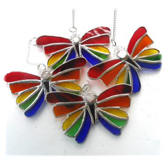 Rainbow butterfly stained glass suncatcher