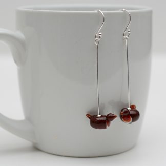 Lampwork glass robin drop earrings
