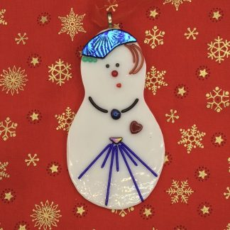 Fused Glass Snow Lady