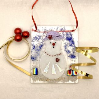 Fused Glass Snowlady with parcels