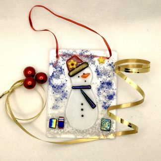 Fused White Snowman with red hat, yellow flower and sparkly parcels