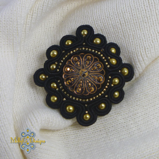 Black and Gold Soutache Brooch MollyG Designs