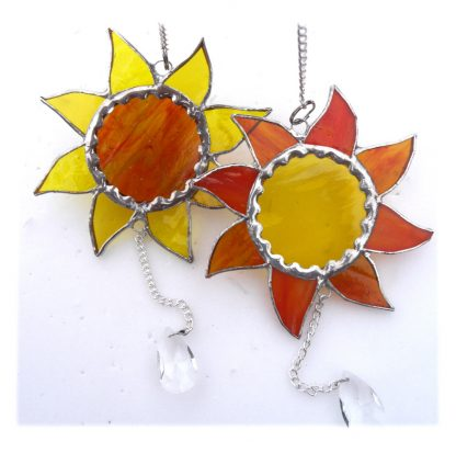 Sunshine suncatcher stained glass sun with crystal