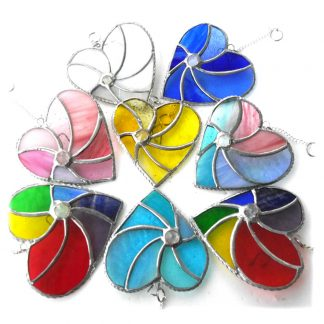 swirl heart stained glass suncatcher