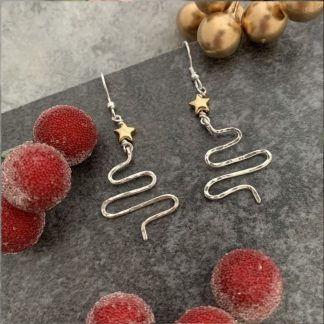 Christmas Tree Earrings with a gold star