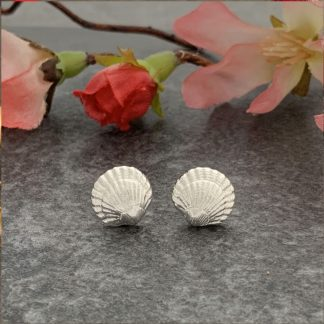 Silver shell stud earrings by Laura Llewellyn Design