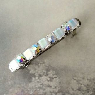 White crystal hair barrette clip gift accessory