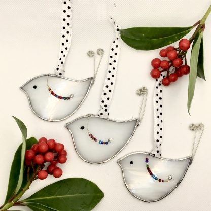 Stained Glass White Snow Birds Christmas Decoration