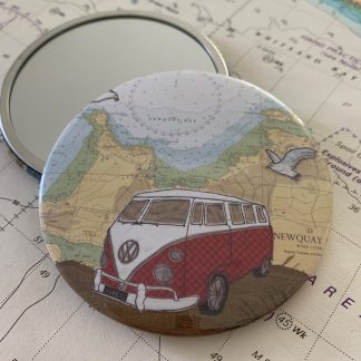 Camper at Newquay mirror by Hannah Wisdom Textiles