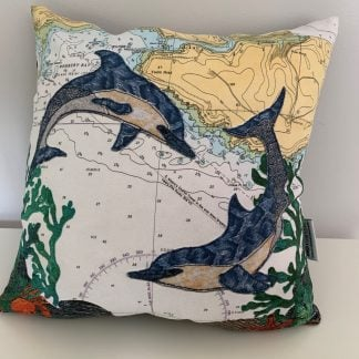 Dolphins at Wembury Bay cushion hannah wisdom textiles