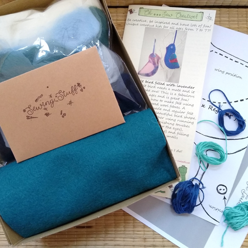 Handmade felt bird craft kit with the box open showing materials - Oh Sew Creative