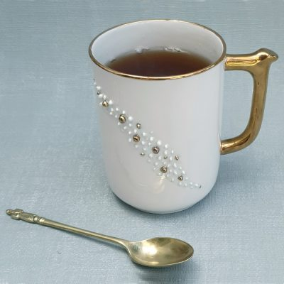 fine china mug with gold and pearl decoration