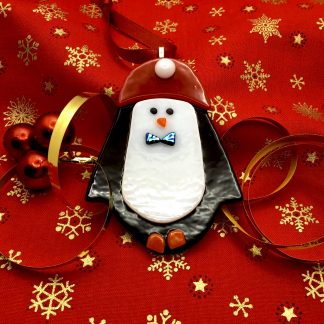 Fused Glass Penguin Christmas Tree Decoration