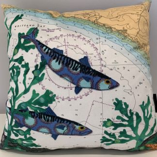 mackerel at Whitsand Bay cushion hannah wisdom textiles