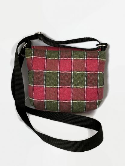 pink and green plaid small cross body bag