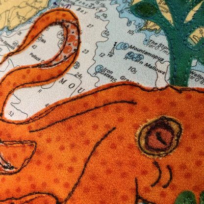 Octopus at Penzance cushion by Hannah Wisdom Textiles