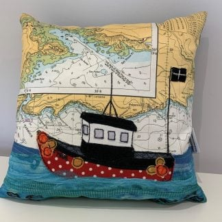 Fishing at Polperro cushion hannah wisdom textiles