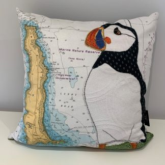 Puffin at Lundy cushion hannah wisdom textiles